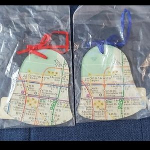 NYC Subway Map Christmas Bell Ornaments